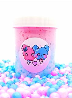 Super crunchy full sugar scrub slime dyed pink and blue scented cotton candy with tons of sugar beads! *Slime may be rough on your hands because of the beads* Candy Sugar Scrub Care Pack ♥ *All digital art & images subject to copyright* Food Slime, Fruit Slime, Slimy Slime, Slime Names, Pretty Slime, Sugar Beads, Slime And Squishy, Bff Drawings, Slime For Kids