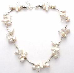 Freshwater-Pearl-Cluster-Crystal-Bead-Necklace-Sterling-Silver-18-034-White-Jewelry