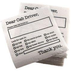 Dear Cab Driver Cocktail Napkins