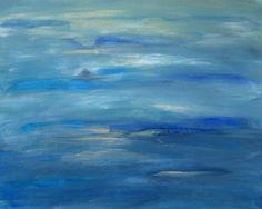 Ocean Acrylic Small Painting Ocean's Blue by PuzzledbyArtmondo