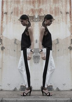 Gemme Sorbet - Fashion Blogger wearing our monochrome trousers   #fashionblogger #monochrome #fashion #boohoo