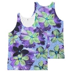 Vintage Floral Green Purple Violets All-Over Print Tank Top Tank Tops