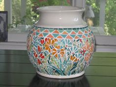 "12"" Ceramic Mosaic Pot"