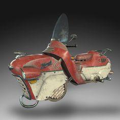 Dieselpunk Hoverbike, Dave Parker on ArtStation at https://www.artstation.com/artwork/yNGw3