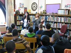 Talking to students at St. Joseph's School for the Deaf