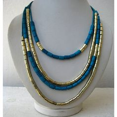Blue and Golden Statement Necklace/Multi Strand by FootSoles, $24.20