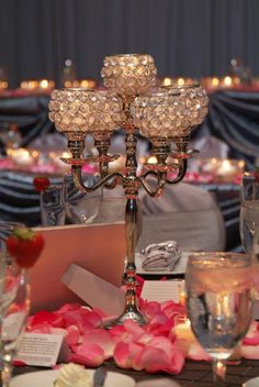 Gorgeous 5-cup sparkling candelabra for your wedding--from Lu