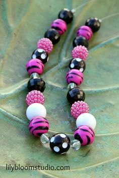 Pink and Black Zebra Chunky Bubblegum Necklace for Child or Adult. $18.00, via Etsy.
