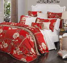 Talitha Ruby DAVINCI  Features: Polyester Yarn dyed jacquard Red and gold floral tapestry Decorative gold flat braid Tailored flange Outer edge trimmed with gold twisted rope cord Plain ruby reverse - #quiltcovers