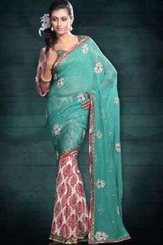 Turquoise Blue and White Georgette Wedding Embroidered Saree