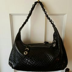 Jessica Simpson Purse Never Used Black Reptile Pattern Zipper Closure 2 outside Zipper Compartments  (1 on each side) Chain like Strap. SHORT 1 inside zipper pocket & 2 small pocket Checked lininG Jessica Simpson Bags Shoulder Bags