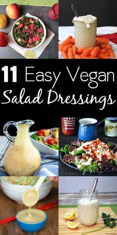11 Easy Vegan Salad Dressing Recipes for the Best Salads EVER! Turn even the most everyday salad into something special with these amazing vegan salad dressing recipes! Source by glueandglitter Vegan Sauces, Vegan Foods, Best Salads Ever, Quick Easy Vegan, Easy Eat, Quick Vegetarian Meals, Salad Dressing Recipes, Vegetarian Salad Dressings, Vegan Dressings
