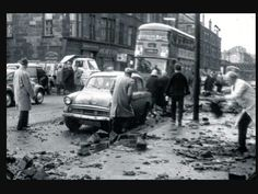 Damage on the streets of Glasgow from the hurricane of 1968