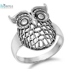 Owl Ring Solid 925 Sterling Silver Cute Owl Ring Antique Finish Open Laser Cut Owl Ring Owl Jewelry Good Luck Gift Owl Lovers Bird Size 4-16