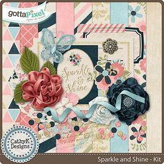 Sparkle & Shine Digital Scrapbook kit by CathyK Designs at Gotta Pixel.