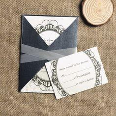 sage green mirror shaped vintage pocket wedding invitations EWPI111 |