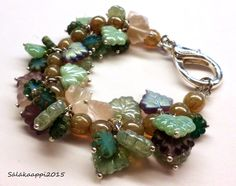 Lovely Charm Bracelet Leaf and Flower Czech Glass Large Clasp by Salakaappi on Etsy