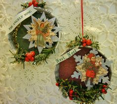 Shabby Tea Party: Mason Jar Lid Christmas Tree Ornaments http://shabbyteaparty.blogspot.com/2014/11/mason-jar-lid-christmas-tree-ornaments.html