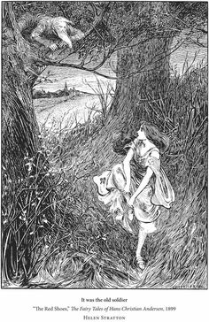 """""""The Red Shoes"""" illustrated by Helen Stratton, 1899 - from """"By a Woman's Hand:  Illustrators of the Golden Age"""" (Dover Publications)"""