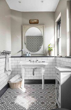 Explore A Pastel Coloured Quirky Victorian Terraced House In Kent Metro Tiles Bathroom, Quirky Bathroom, Bathroom Flooring, Modern Bathroom, Small Bathroom, Master Bathroom, Bathroom Ideas, Family Bathroom, Downstairs Bathroom