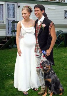 perfect Redneck Wedding photo - includes the cigarette and the beer can...of course.