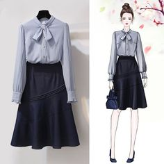 Women Spring Autumn Office Casual Skirts Set Sweet 2 Piece Bowknot Blouses Shirts And Denim Skirt Set Fashion Drawing Dresses, Fashion Illustration Dresses, Fashion Dresses, Modest Fashion, Korean Outfits, Trendy Outfits, Cool Outfits, Modest Outfits, Skirt Outfits