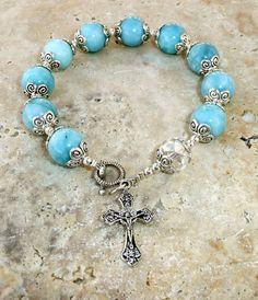 Genuine Larimar Quartz Antique Silver 8 Rosary by IslandGirl77