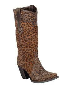 Leopard Jade Leather Cowboy Boot | zulily
