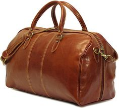 Timeless and sporty, the Venezia Duffle comes in Vecchio Brown Italian Calf-skin leather with khaki stitching. It fits nicely into an airlines overhead compartment and the floor-to-floor zipper makes packing easy and painless. The interior is lined with rugged 100% Cotton/Denim so your clothes will always unpack smelling fresh. It also has an inside zip pocket for holding a passport and travel supplies