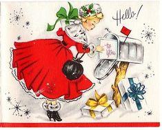 Vintage Christmas Card Pretty Blonde Girl Dress Fur Heel Boot Mailbox Present Christmas Mail, Christmas Card Images, Vintage Christmas Images, Very Merry Christmas, Retro Christmas, Vintage Holiday, Christmas Greeting Cards, Christmas Greetings, Christmas Postcards