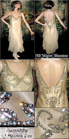 """Flapper dress, 1920s. From I. Magnin. Candlelight-colored silk georgette and chiffon with """"black  diamond"""" rhinestones (clear with darker silvered backing). Slightly shaped at the waist."""