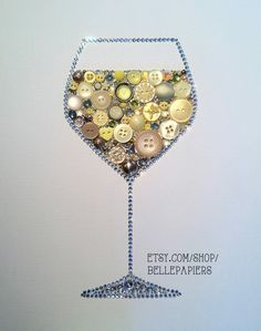 Wine Lovers Button Art Wine Glass Decoration White by BellePapiers, $174.00