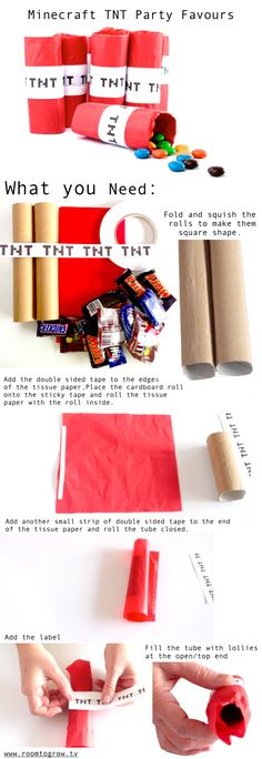 DIY Minecraft TNT Party Favors with paper towel rolls and red tissue paper Lego Minecraft, Minecraft Crafts, Minecraft Party Favors, Minecraft Videos, Minecraft Creations, Minecraft Birthday Ideas, Minecraft Houses, Kids Party Favours, Minecraft Party Activities