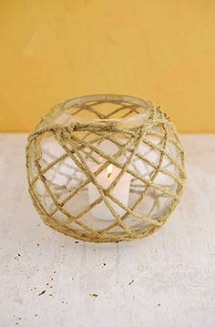 Glass Candle Holder with Rope 6.25in or DIY and wrap rope around chosen candle vessel