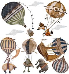 Ex-Large Birds Vintage Hot Air Balloon Animal nursery toddler baby hand painted look Repositionable fabric Wall decals Wall Art Balloon Chandelier, Edition Jeunesse, Balloon Animals, Hot Air Balloon, Baby Balloon, Balloon Rides, Animal Nursery, Wall Art, Wall Decals