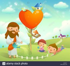 Stock Photo - Figure of Jesus Christ watering a plant and two children playing on the grass Kids Of Integrity, Jesus Drawings, Jesus Cartoon, Bible Illustrations, Christian Kids, The Kingdom Of God, Banner Printing, Kids Church, Cartoon Pics