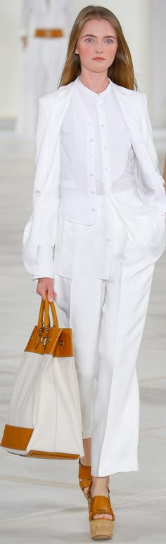Ralph Lauren Collection Spring 2016: menswear-inspired white linen pieces exude understated elegance and ease