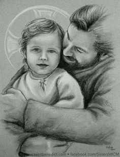 """by-grace-of-god: """" St. Joseph and Jesus - Charcoal/pastel drawing by Sister Marie-Bernard, MICM. Catholic Art, Catholic Saints, Religious Art, Religious Pictures, Jesus Pictures, Religion Catolica, Mary And Jesus, Daughters Of The King, Holy Family"""