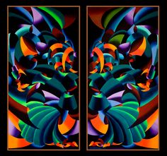 """Mark Webster Artist - The Gargoyles - Abstract Geometric Futurist Diptych. Each painting is 36x18"""" Oil on Canvas."""