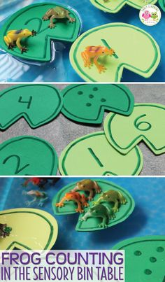 Frog counting activity- Make numbered lily pads and use them, along with small toy frogs, in a sensory bin, water table, or large container filled with water. The article includes directions for making the lily pads. a printable pattern that you can down Frog Activities, Spring Activities, Learning Activities, Preschool Activities, Montessori Preschool, Montessori Elementary, Water Play Activities, Hands On Learning, Preschool Printables