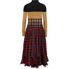 Loewe Needle Punch patchwork knitted, plaid felt and polka-dot... ($5,025) ❤ liked on Polyvore featuring dresses, multi-color dresses, mid calf dresses, colorful dresses, polka dot dress and multi coloured dress