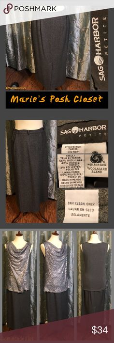 Dark Gray Pencil Skirt Darling, charcoal gray, wool blend skirt with zipper front and narrow belt loops. Stylish, professional looking midi-skirt, great for the office or a job interview. EUC. Sag Harbor Skirts Pencil