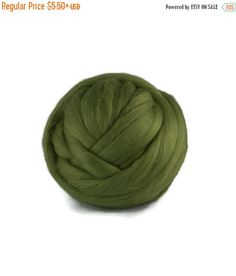 SALE Superfine  wool roving 19 microns ,Colour: Ivy