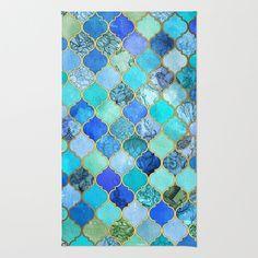 Cobalt+Blue,+Aqua+&+Gold+Decorative+Moroccan+Tile+Pattern+Rug+by+Micklyn+-+$28.00