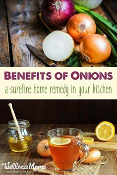There are many benefits of onions- the amazingly versatile vegetable many of us always have on hand. Use in recipes, for illness, muscle soreness and more! Homemade Cough Remedies, Home Remedy For Cough, Cold Home Remedies, Herbal Remedies, Baby Cough Remedies, Headache Remedies, Health Remedies, Holistic Remedies, Natural Remedies For Anxiety