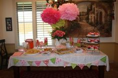pink and green flower baby shower