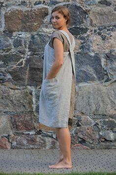 Linen Pinafore. Pinafore dress / Square Cross Linen Apron / Japanese Apron. Sizes XXS to XXL
