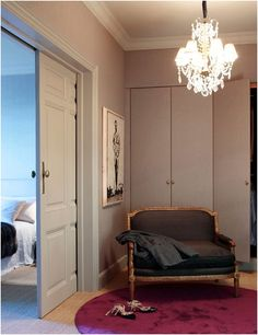 French Closet Chandelier - Design photos, ideas and inspiration. Amazing gallery of interior design and decorating ideas of French Closet Chandelier in closets by elite interior designers. Barcelona Apartment, Interior Architecture, Interior Design, Master Bedroom Closet, Master Suite, Build A Closet, Rustic Interiors, Grey Walls, Beautiful Space