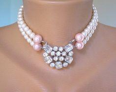 Pearl Choker Ruby Choker Bridal Necklace Statement Choker
