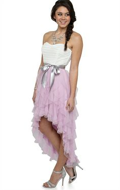 Deb Shops Two Tone Strapless High Low #Prom #Dress with Tendril Skirt and Tie Waist $52.43